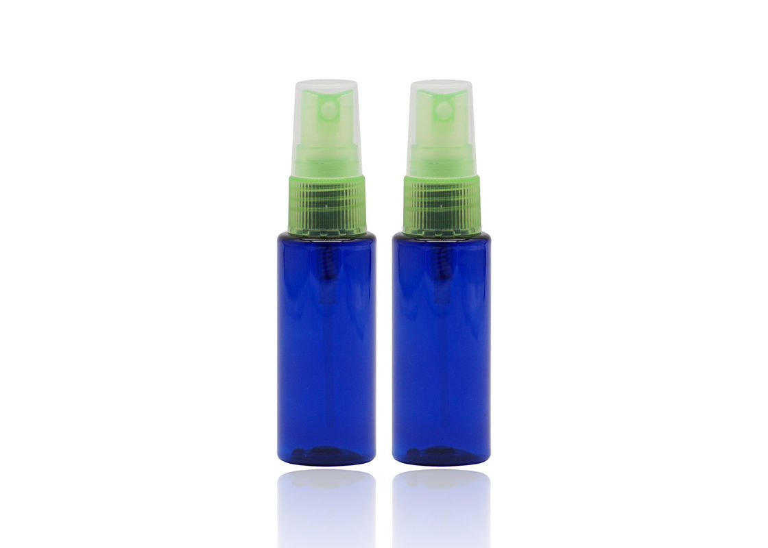 30 Ml Blue Refillable PET Plastic Spray Bottles With Light Green Mist Pump